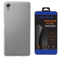 Cepsesuar Sony Xperia E5 Kılıf Silikon 0.2 mm Şeffaf + Cam