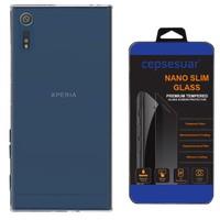 Cepsesuar Sony Xperia XZ Kılıf Silikon 0.2 mm Şeffaf + Kırılmaz Cam