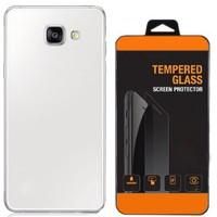 Exclusive Phone Case Samsung Galaxy A8 2016 Kılıf 0.2 Silikon Şeffaf+Tempered Glass