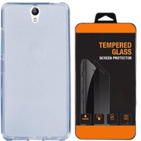 Exclusive Phone Case Lenovo P1m Kılıf 0.2 Silikon Mavi+Tempered Glass