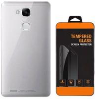 Kılıfland Huawei Honor 7 Kılıf 0.2 Silikon Şeffaf+Temperli Cam