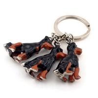 Üçlü Köpek Figürlü Metal Anahtarlık Kc476