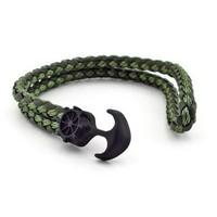 Siyah Çapa Yeşil Örgü Deri Erkek Bileklik Bt260