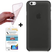 Mobil Shop Apple iPhone SE Kılıf 0.2MM Silikon + Cam