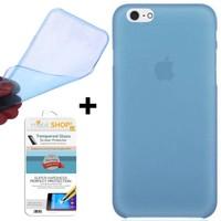 Mobil Shop Apple iPhone SE Kılıf 0.2MM Silikon + Kırılmaz Cam