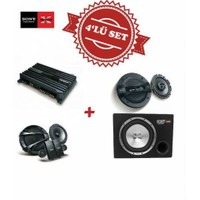 Sony XM-N1004 4 kanal Amfi ,XS-GTR121L Kabinli Subwoofer ,XS-N1620C Mid Takım ve XS-GT1738F 17cm Hoparlör Set