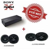 Sony XM-S400 Amfi ile Mega Bass XS-XB690 6x9 Oval ve XS-XB160 16 cm Hoparlör Set
