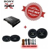 Sony XM-GS4 4 kanal Amfi ile XS-XB690 6x9 Oval ve XS-XB160 16cm Mega Bass Set.Kablo Seti