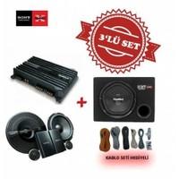 Sony XM-N1004 4 kanal Amfi ile XS-NW1200E Kabinli Subwoofer ve XS-GS1621C Mid Takım Set.Kablo Seti