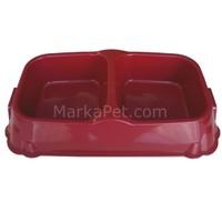 Eastland İkili Mama Kabı Kırmızı 2x1 Lt 35*18,5*8 cm