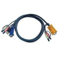 Usb Kvm (Keyboard/Video Monitor/Mouse) Switch İçin Kablo, 3 Metre, 1 X Sphd-15 Erkek, 2 X Audio Plug ≪-≫ 1 X Monitör 15 Pin Hdb Erkek, 1 X Klavye / Mouse Usb A Erkek, 2 X Audio Yuvası