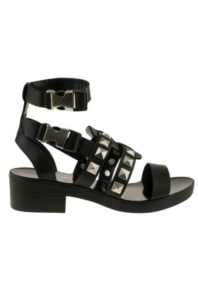 Yees 331 Zimbali Gladyator Siyah Kadın Sandalet