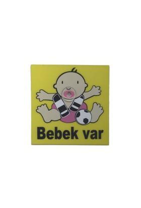 Demircioğlu Emzikli Arabada Bebek Var Vantuzlu Levha Siyah Beyaz