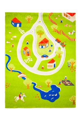 İvi Çocuk ve Genç Odası Halısı Çiftlik Yeşil 134x180Cm