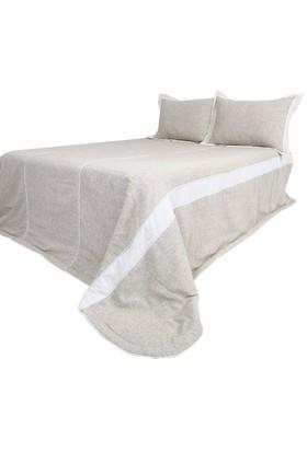YastıkMinder Kum Renk Keten Kumaş Yatak Örtüsü