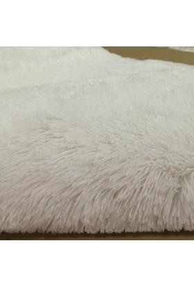 MarkaEv Dekoratif Tavşan Tüyü Beyaz Halı 80x140 cm
