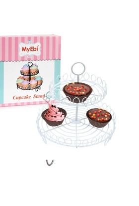 Tahtakale Toptancısı Metal Cupcake Standı 2 Katlı Beyaz Kek Standı