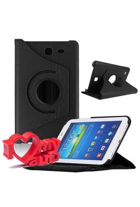 CoverZone Samsung Galaxy Tab 4 T230 Kılıf 360 Derece Döner Siyah + 3d Araç Kokusu