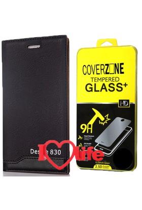 CoverZone Htc Desire 830 Kılıf Vip Magnum Deri Siyah + + 3d Araç Kokusu