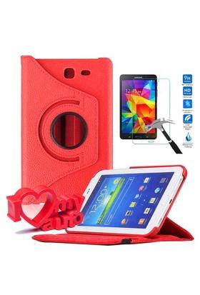 CoverZone Samsung Galaxy Tab 4 T230 Kılıf 360 Derece Döner Kırmızı + Cam + 3d Araç Kokusu