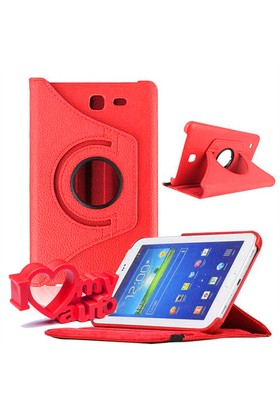 CoverZone Samsung Galaxy Tab 4 T230 Kılıf 360 Derece Döner Kırmızı + 3d Araç Kokusu
