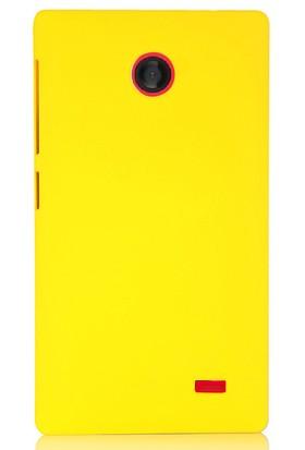 CoverZone Nokia X Kılıf Rubber Sert Arka Kapak Sarı