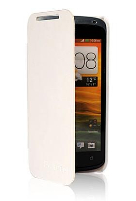 CoverZone HTC Desire 601 Kılıf Flip Cover Beyaz