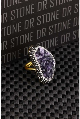Dr Stone Doğaltaş -Kadın Ametist Yüzük 20Ar493