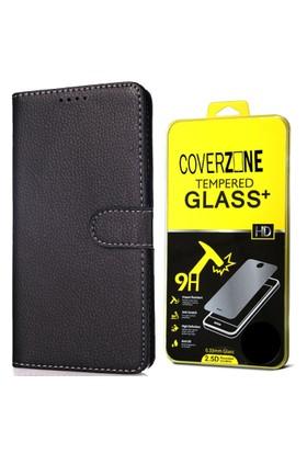 CoverZone General Mobile Discovery Kılıf Cüzdan Kapaklı Siyah + Temperli Cam