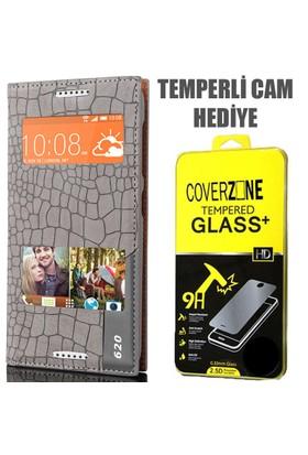 CoverZone HTC Desire 620 Kılıf Çift Pencereli Rock Kapaklı Gri + Temperli Cam