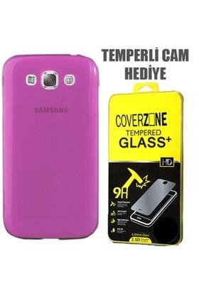 CoverZone Samsung Galaxy E7 Kılıf 0.3mm İnce Silikon Pembe + Temperli Cam