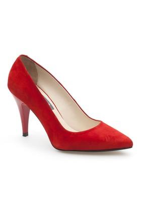 Sofistiqe Kırmızı Süet Topuklu Ayakkabı