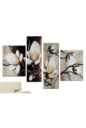 Tictac Design 4 Parçalı Kanvas Tablo Beyaz Çiçekler