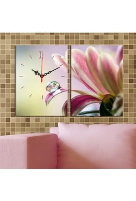 Decostil 2 Parçalı Kanvas Saat Pembe Beyaz Çiçek