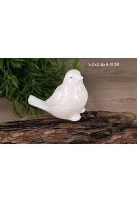 Gönül Porselen Porselen Beyaz Mini Boy Kuş Biblo