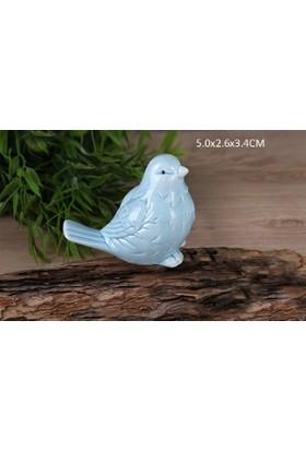 Gönül Porselen Porselen Mavi Mini Boy Kuş Biblo