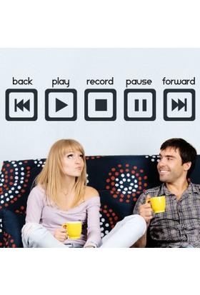 Modelce Play Music Duvar Sticker - Priz Sticker Hediyeli