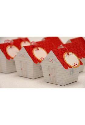 Mevlüt Şekeri Kutusu - Sevimli Ev - Kırmızı Çatılı