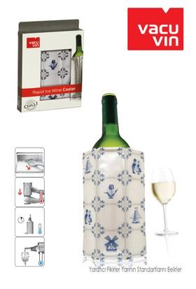 Vacu Vin Vacu Şarap Soğutucu Çini Desenli Mavi