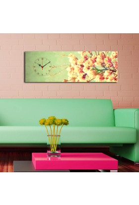 Mania Renkli Orkideler 30x90 cm Kanvas Saat