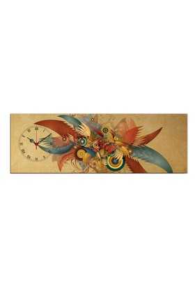 Mania Renkli Kanatlar 30x90 cm Kanvas Saat
