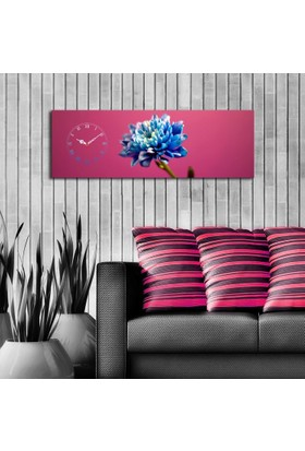 Mania Mavi Çiçek 30x90 cm Kanvas Saat