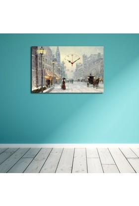Mania Kar Manzarası 45x70 cm Kanvas Saat
