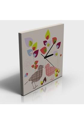Arse Çizgi Kuşlar Tablo Ve Saat İkisi Birarada -30x30 cm