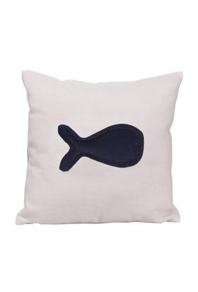 Ev Atölye Ekru Keten Tek Balıklı Yastık - 30x30 cm