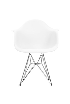 Şaziye Metal Eames Kollu İthal Sandalye Tel Ayaklı- Beyaz