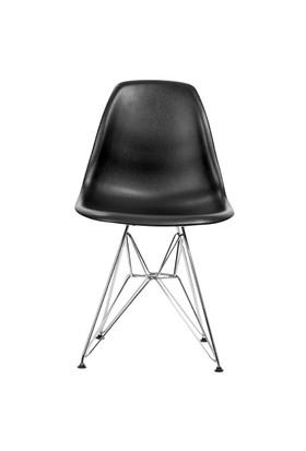Şaziye Metal Eames İthal Sandalye Tel Ayak- Siyah