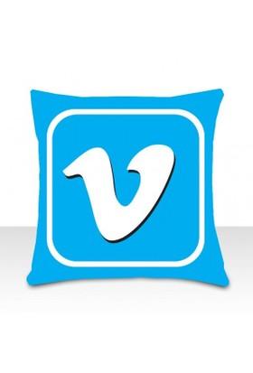Sosyal Medya Yastıkları Vimeo Icon Yastık