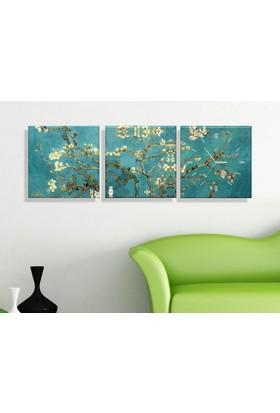 Arse Beyaz Çiçekler Parçalı Dekoratif Tablo Ve Saat -3 Adet 30 x 30 cm
