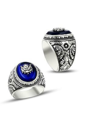 Anıyüzük Erzurum El İşçiliği Osmanlı Armalı Mavi Gümüş Yüzük